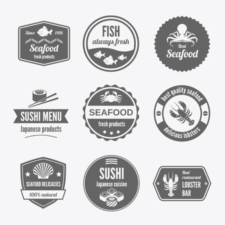 seafood soup: Seafood sushi menu japanese products fresh products icons set black isolated vector illustration