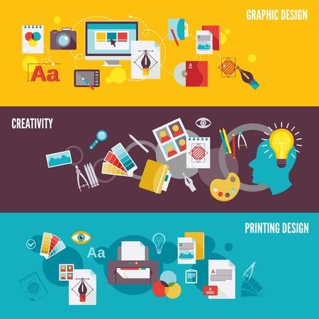 Grafisch ontwerp digitale fotografie banner die met creativiteit afdrukken geïsoleerde illustratie