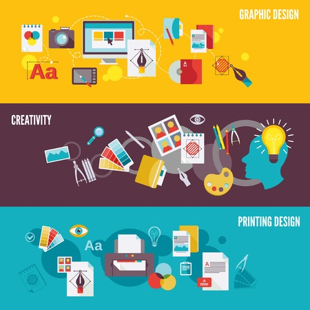 with sets of elements: Graphic design digital photography banner set with creativity printing isolated illustration