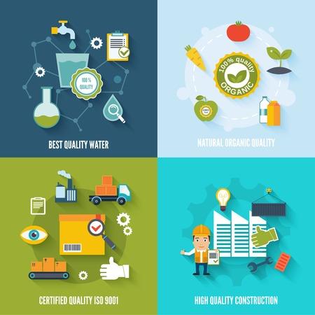最高品質の水分離された天然有機認定建設ベクトル イラスト入り品質管理フラット アイコン  イラスト・ベクター素材
