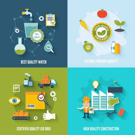 quality check: Quality control flat icons set with best quality water natural organic certified construction isolated vector illustration