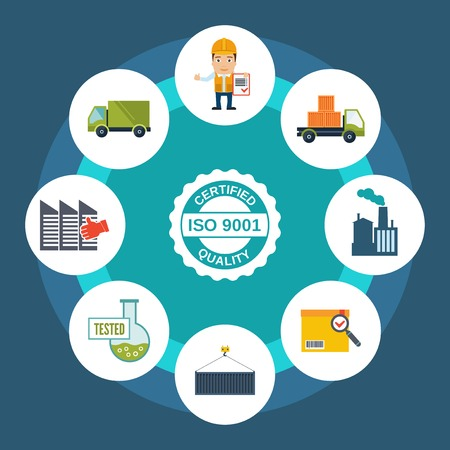 Quality control concept with certified label and shipping and test results icons illustration Vector