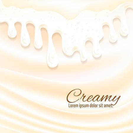creamy: Milk drops and cream splashes sweet creamy background vector illustration