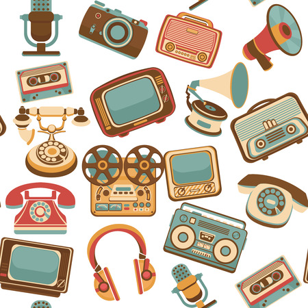 Vintage media gadgets colored seamless pattern with vintage electronic devices illustration