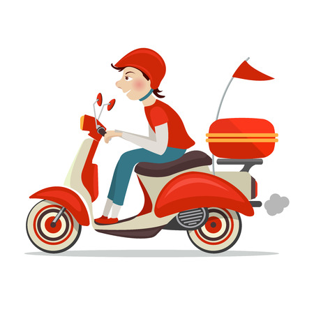scooter: Delivery person on retro scooter fast service icon isolated on white background illustration