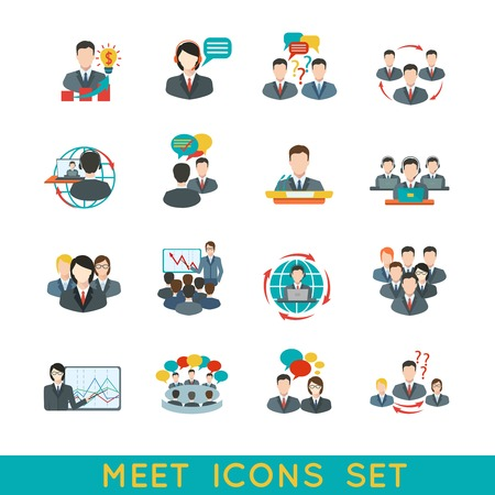 computer training: Business meeting flat icons set of partnership planning conference elements isolated illustration.