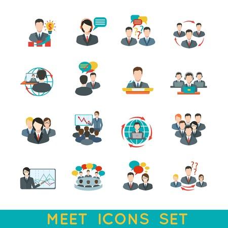 capacitacion: Iconos planos de reuniones de negocios conjunto de elementos de conferencia de planificación de asociación aislados ilustración.