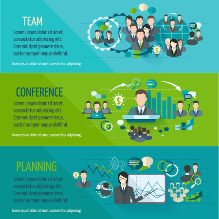 sales meeting: Meeting people horizontal banner set with team planning conference isolated illustration Illustration