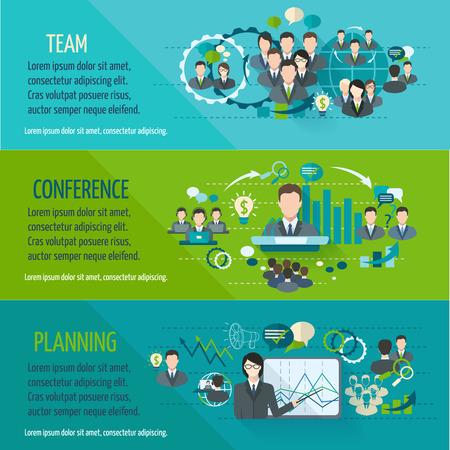 banner orizzontali: Persone riunioni banner orizzontale set con conferenza di pianificazione squadra isolato illustrazione