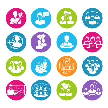 Business meeting white round buttons icons set of teamwork mediation planning elements isolated  illustration