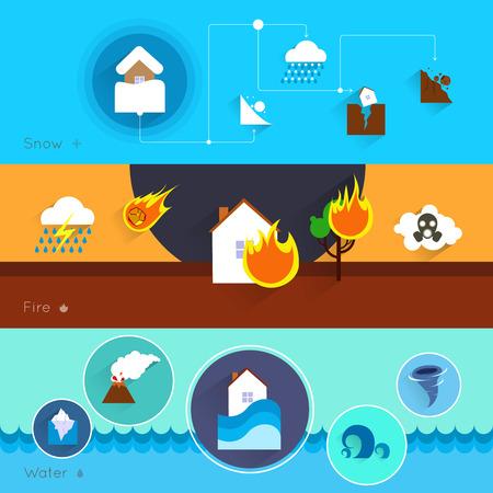 landslide: Natural disaster danger banner set with snow fire water isolated illustration Illustration