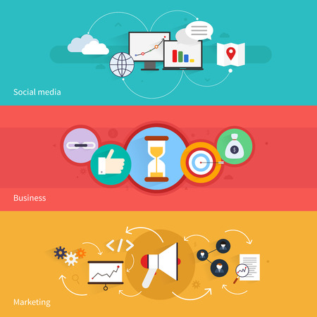 SEO marketing horizontal banner set with social media business isolated vector illustration