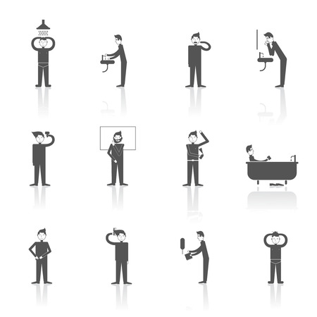 Hygiene icons black set with people figures facial and body care using isolated vector illustration Vector