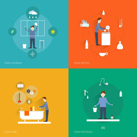 cleaning equipment: Cleaning flat icons set with windows kitchen bath house isolated illustration