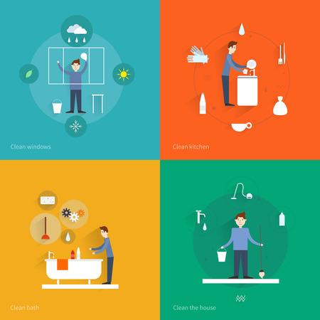 servicio domestico: Limpieza de los iconos planos establecidos con aislado baño de la casa ventanas de la cocina ilustración