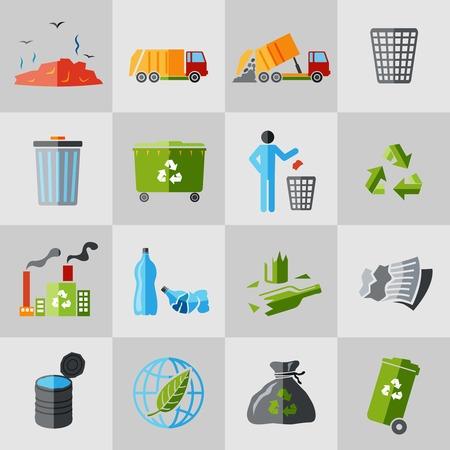 camion de basura: Reciclaje de basura iconos conjunto plana de cesto de basura aislados ilustraci�n