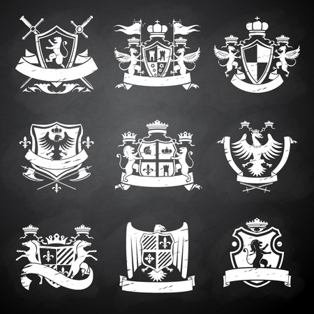 Heraldic victorian knight decorative emblems chalkboard set with flags lions and horses isolated illustration Vettoriali