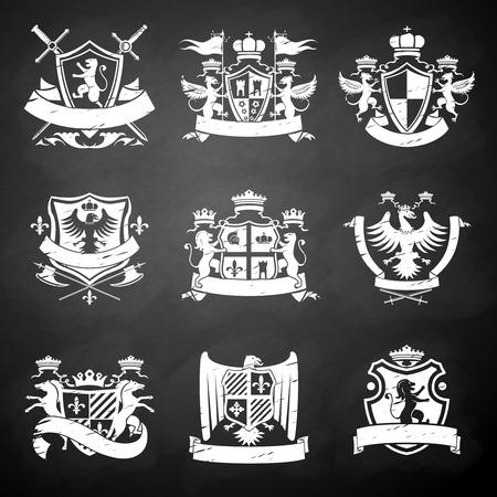 Tableau héraldique emblèmes décoratifs chevalier victorien serti de drapeaux lions et chevaux illustration isolé Vecteurs