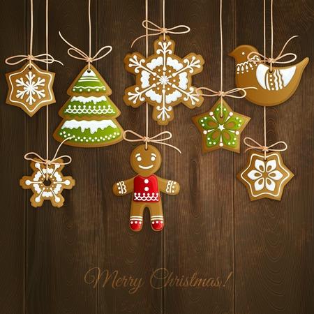 ginger cookies: Feliz navidad decoración de vacaciones de fondo con copos de nieve hombre de jengibre y galletas de árboles ilustración Vectores
