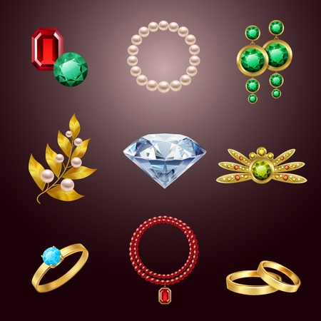 Jewelry realistic icons set of diamond gold fashion expensive accessories isolated illustration Vector