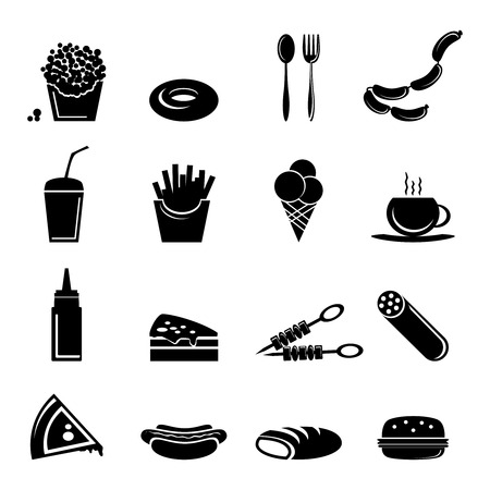food illustrations: Fast food icons black set of popcorn doughnut cutlery isolated illustration