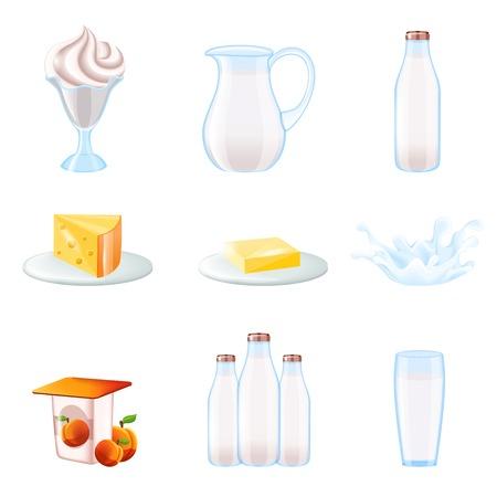 milk cheese: Milk realistic icons set with cream pitcher bottle cheese splash isolated illustration Illustration