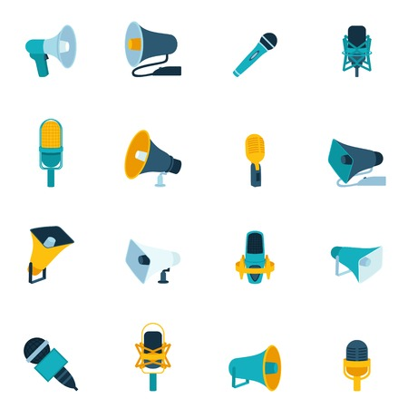 Microphone and megaphone vintage sound audio communication equipment flat icon set isolated illustration Vector