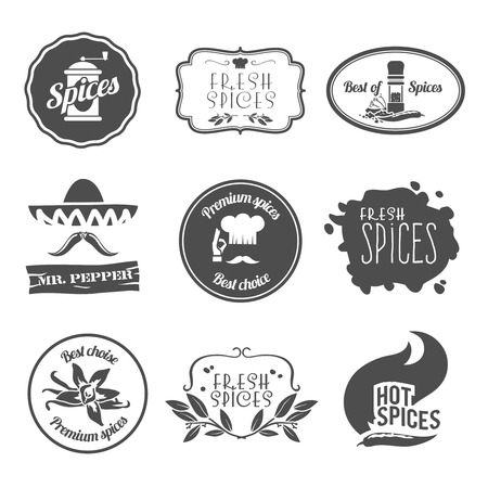Fresh premium spices hot black labels emblems and stamps set isolated illustration Vector