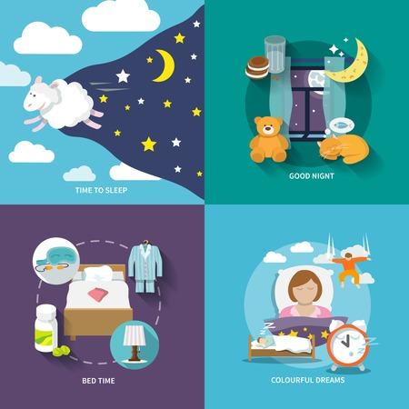 dormir: Iconos de tiempo del sue�o plana establecen con buena cama la noche los sue�os de colores aislados ilustraci�n