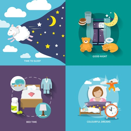 good night: Sleep time icons flat set with good night bed colourful dreams isolated illustration Illustration