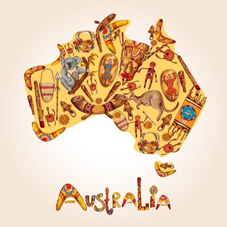 Australia native aboriginal tribal ethnic colored sketch symbols in australian continent shape illustration