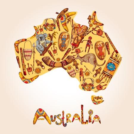 aboriginal: Australia s�mbolos nativos abor�genes tribales �tnicas de colores de dibujo en continente australiano forma ilustraci�n