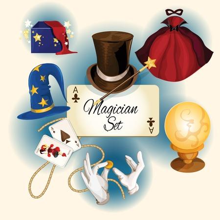 magia: Iconos de colores decorativos mago establecidos con tarjetas sombrero Magic Cylinder ilustraci�n aislada Vectores
