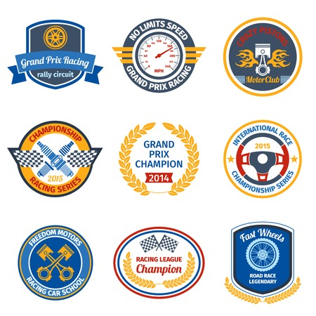 Championship international racing series gran prix champion colored emblems set isolated illustration Vector