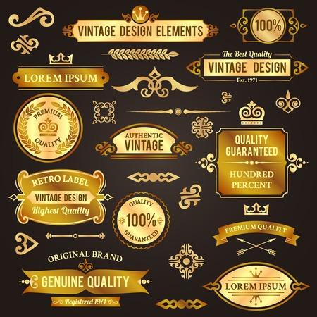 Vintage design elements golden luxury decorative set isolated illustration