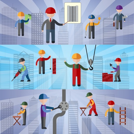 worker person: Construction flat horizontal banners set with working people isolated illustration