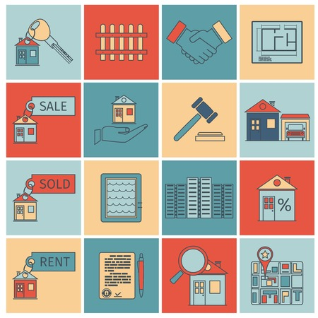 Real estate flat line icons set of house apartment and commercial property isolated illustration Vector