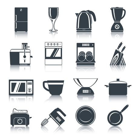 Keukenapparatuur iconen zwart set met koffiezetapparaat oven vaatwasser messen geïsoleerde illustratie.