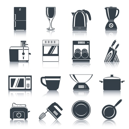 Kitchen appliances icons black set with coffee machine oven dishwasher knifes isolated illustration. Vector