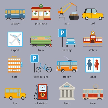 subway road: City infrastructure icons set with subway pharmacy port taxi isolated illustration