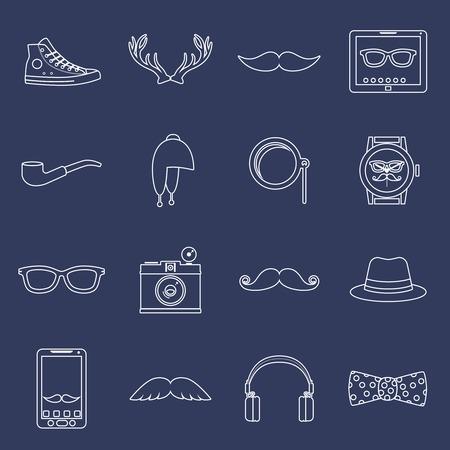 moda urbana: Friki inconformista elementos de la moda urbana y accesorios delinear iconos establecidos con sabuesos gafas sombrero aislados ilustraci�n