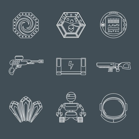 game play: Space computer mobile phone game play elements outline icons set isolated vector illustration Illustration