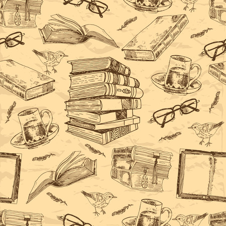 빈티지 책은 새 깃털 차 컵과 안경 벡터 일러스트 레이 션 원활한 패턴을 스케치 스톡 콘텐츠 - 32945444