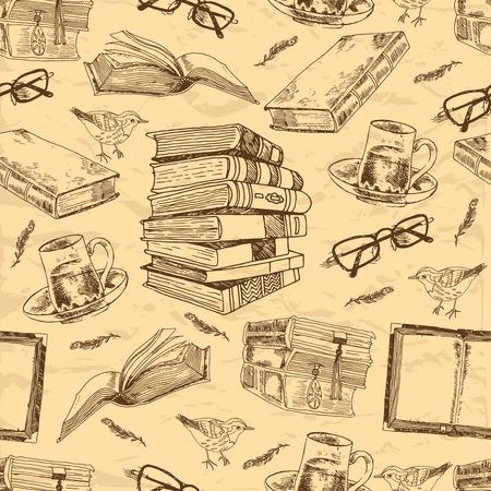 biblioteca: Libros de la vendimia dibujan sin patr�n, con la pluma de p�jaro taza de t� y vasos ilustraci�n vectorial