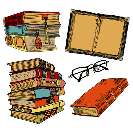 a literary sketch: Vintage books stack sketch decorative icons set with glasses isolated illustration