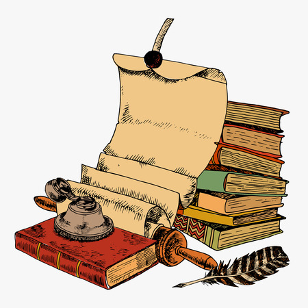 a literary sketch: Vintage books with paper scroll feather and ink pot colored sketch decorative concept illustration