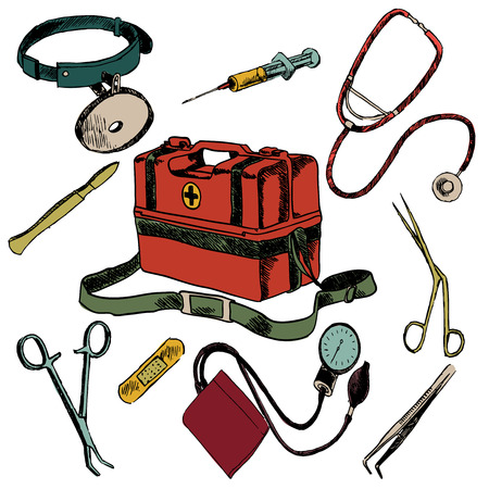 first aid kit: Medicine emergency health care colored sketch decorative icons set isolated illustration Illustration