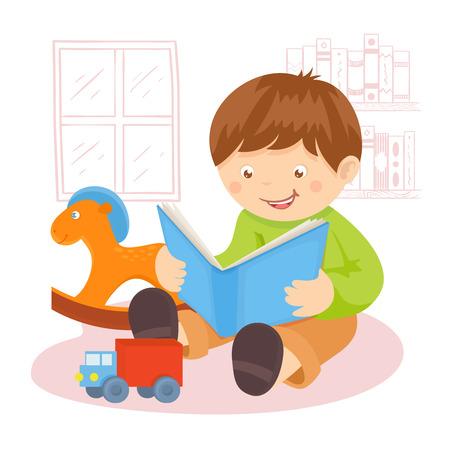 niños estudiando: Niño que lee el libro en el interior con los juguetes y estantería en la ilustración del cartel de fondo Vectores