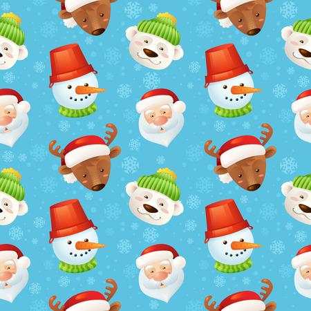 Christmas characters seamless pattern with santa claus deer snowman polar bear on blue snowflake background illustration Vector
