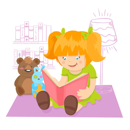 Girl reading book indoors with toys on background poster illustration